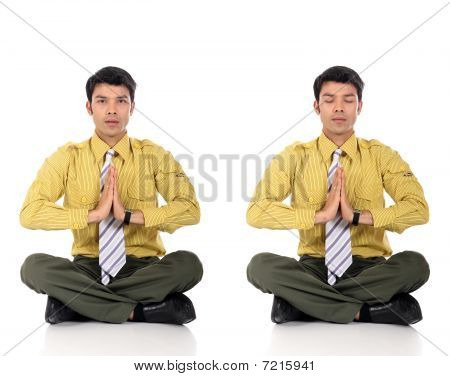 Asian Businessman Meditating Yoga