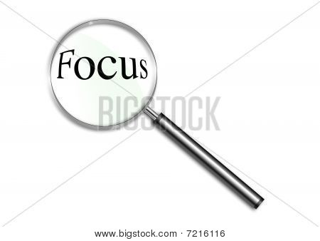 Magnifying glass over the word Focus