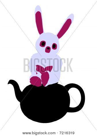 Ilustración de la silueta del conejo blanco