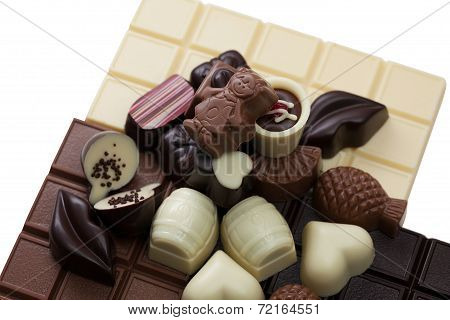 Image of chocolate bars and sweets, close-up