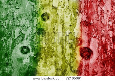 Mali Flag On A Weathered Grunge Background