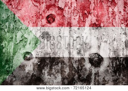 Sudan Flag On A Weathered Grunge Background