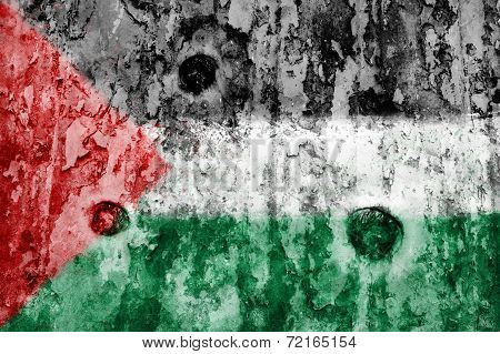 Palestine Flag On A Weathered Grunge Background