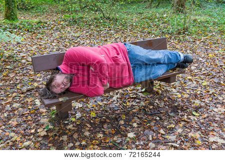 Man Sleeping On A Bench In A Forest