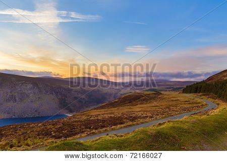 Winding Road Towards Sally Gap At Sunset