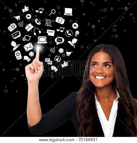 Woman Selecting Icons, Virtual World