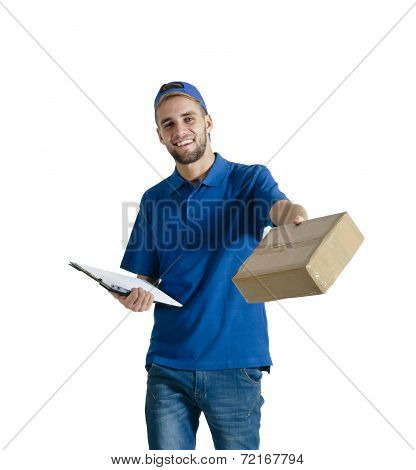 Young attractive courier guy making delivery of boxed parcels