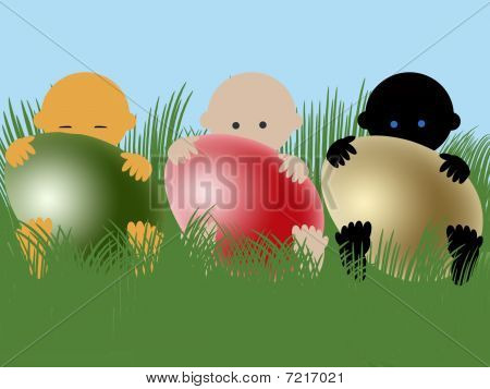 Multiracial babies with easter eggs