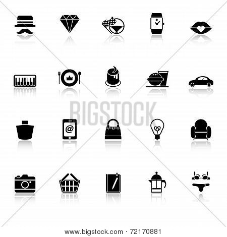 Department Store Item Category Icons With Reflect On White Background