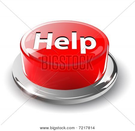 Help button, 3d red vector.