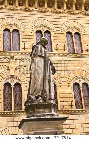 Statue of Sallust Bandini in Salimbeni square, Siena, Tuscany