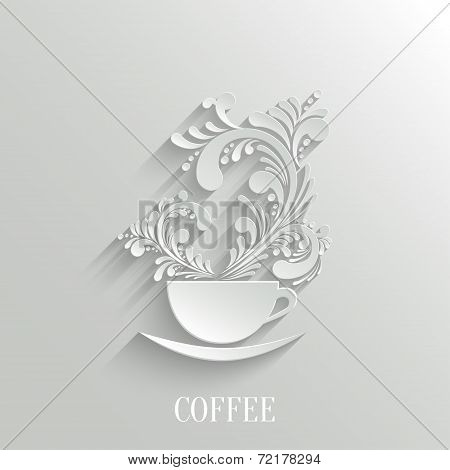 Abstract 3D Cup Of Coffee With Floral Aroma Design Element With Shadow. Trendy Design Template