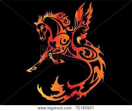 horse fier tattoo