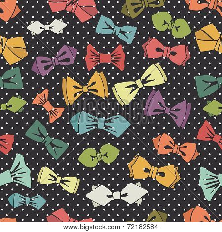 Bow tie seamless pattern.Polka dot background.Vector