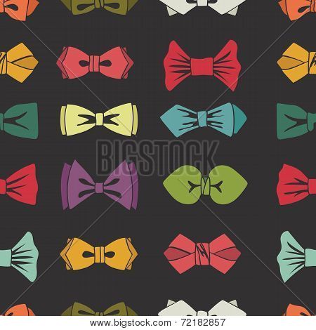 Bow tie seamless pattern. Cartoon colorful vector