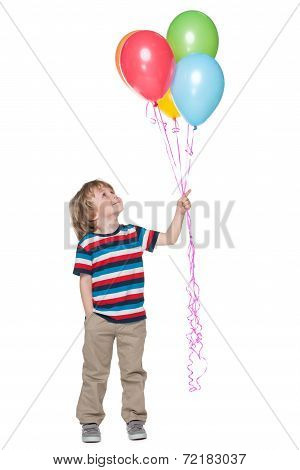 Smiling Little Boy With Balloons