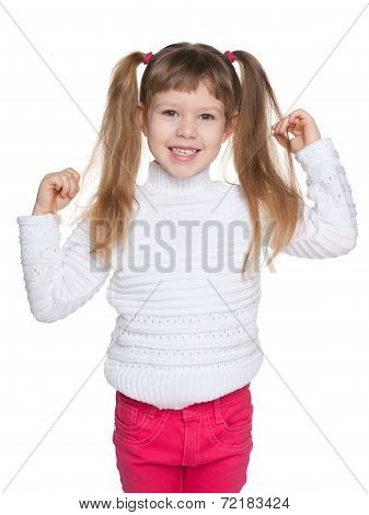 Happy Preschool Girl Against The White