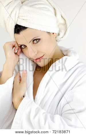 Happy Woman In Bath Robe Smiling