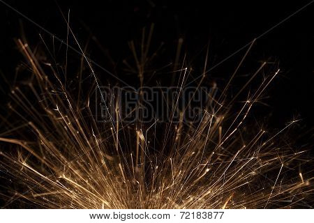 Closeup Of A Sparkler On Black Background