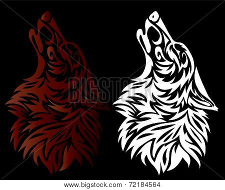 red and white wolf head tattoo on a black background