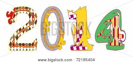 2014 colorful characters on white background.