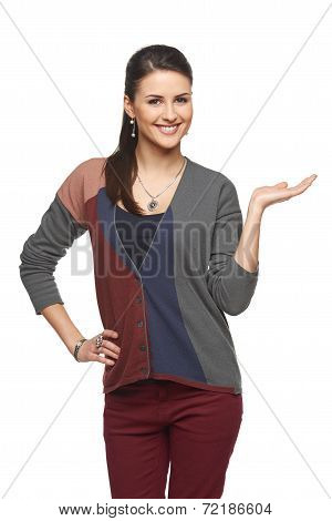 Woman showing open hand palm with copy space