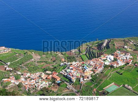 La Gomera - Aerial view of Agulo from Mirador de Abrante