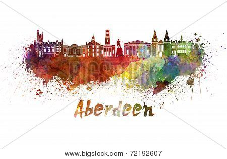 Aberdeen Skyline In Watercolor