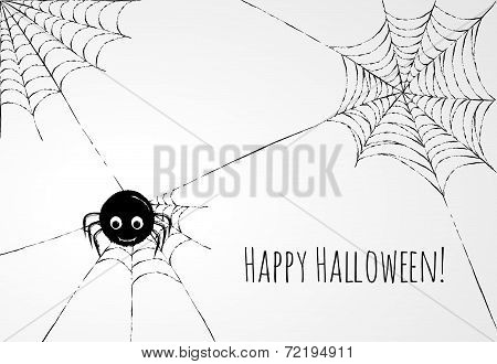 Cute Spider And Webs Over Gray Background. Halloween Card Or Background