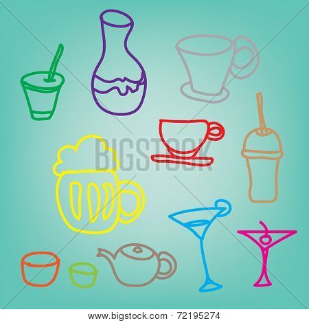 Colorful Drink & Beverage Icons Set On Blue Background