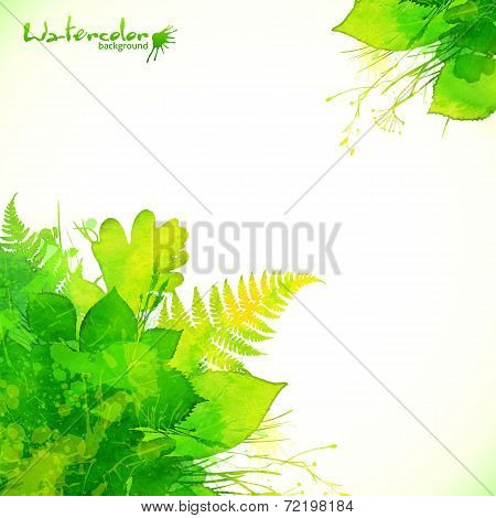 Watercolor painted green summer leaves background