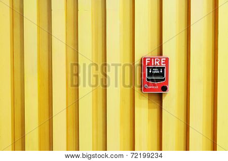 Fire Alarm Swith On Wood Background