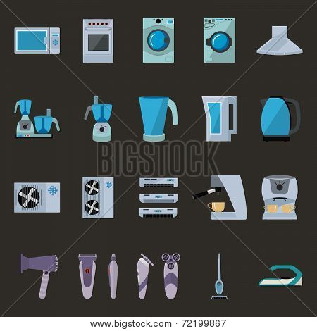 Set Of Household Appliances Flat Icons On Colorful Round Web Buttons With A Fridge, Extractor Hood,