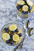 foto of poi  - Hawaiian parfait with layers of poi granola blueberries bananas and drizzled with agave - JPG