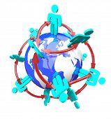 Постер, плакат: Глобальная сеть связанных людей