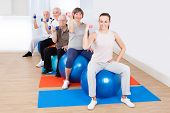 pic of senior class  - Portrait of trainer and senior customers using hand weights while sitting on fitness balls at gym - JPG