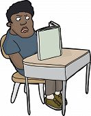 image of outrageous  - Outraged male student at desk reading blank book - JPG