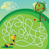foto of worm  - Vector Maze Labyrinth education Game for Children with apple and worm - JPG