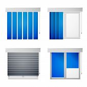 picture of louvers  - Gray windows with differend types blue louvers - JPG