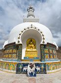 pic of jammu kashmir  - Detail of Tall Shanti Stupa near Leh  - JPG