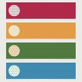 stock photo of harlequin  - set of horizontal banners with harlequin decorations and copy space with transparencies - JPG