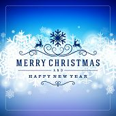picture of xmas star  - Merry Christmas message and light background with snowflakes - JPG