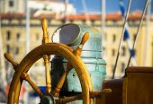 stock photo of rudder  - view of an old wooden  sailboat rudder - JPG