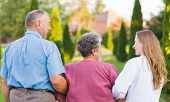 stock photo of hospice  - Elderly couple walking in the nature with the carer - JPG