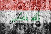 stock photo of iraq  - Iraq flag on a weathered grunge background - JPG