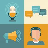 stock photo of microphone  - Vector podcast concept in flat style  - JPG