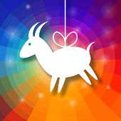 pic of applique  - Goat Paper Applique on Bright Colorful Rainbow Background - JPG