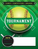 stock photo of softball  - A softball tournament illustration featuring a softball on a softball field - JPG
