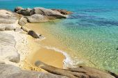 foto of naturist  - Small deserted sandy beach on Sithonia - JPG