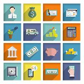 picture of plastic money  - Bank service flat icons set with money box storage check isolated vector illustration - JPG